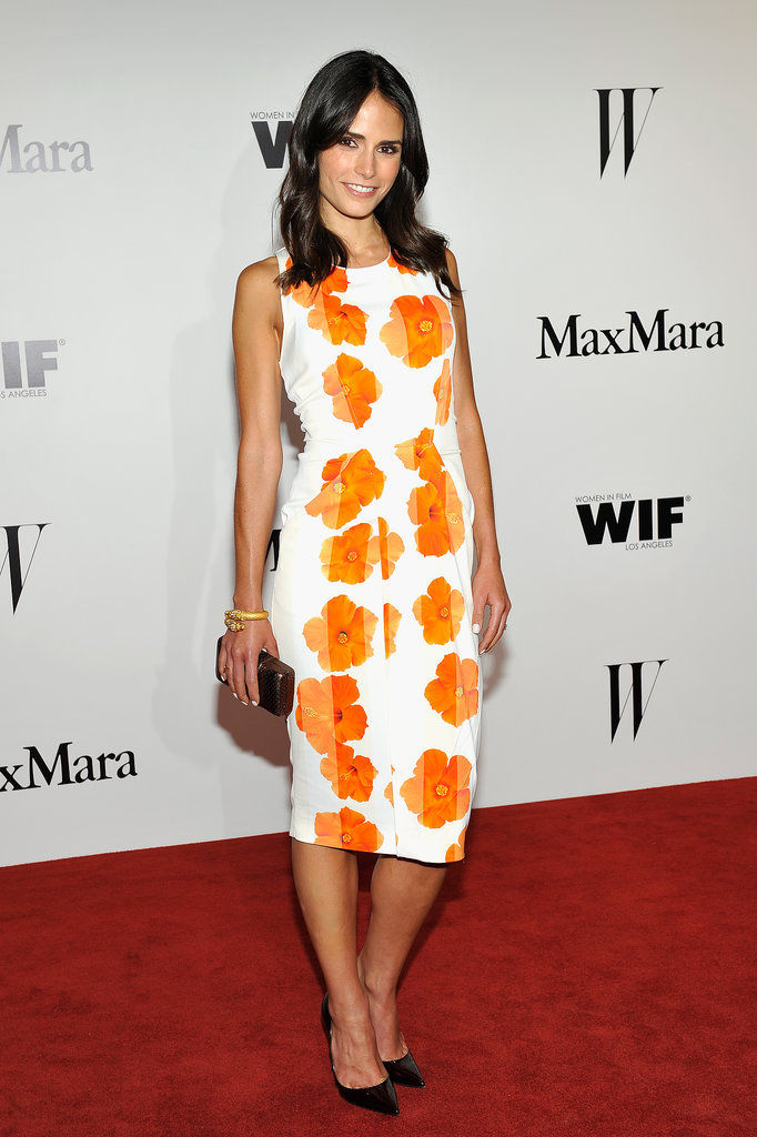 Jordana Brewster gave us outfit envy in a bright white-and-orange flower-print Sportmax sheath.