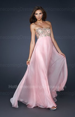 Junior Cotton Candy Pink Beaded Bodice Long Strapless Homecoming Dress Cheap