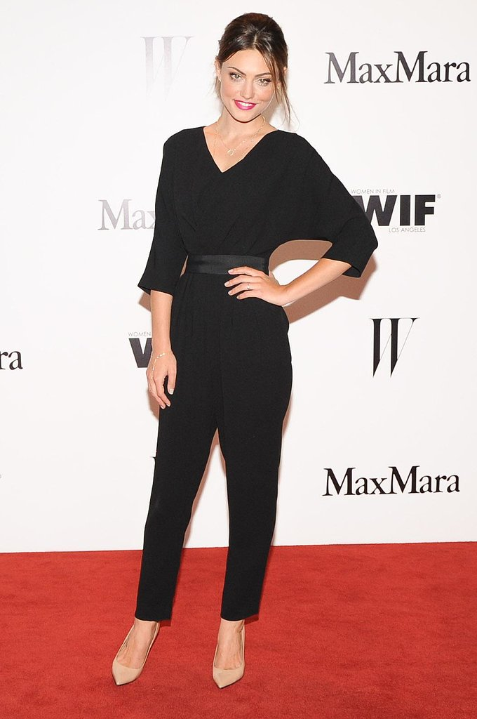 Phoebe Tonkin looked polished in a Max Mara V-neck jumpsuit and understated pumps. Source: Owen Kolasinski/BFAnyc.com