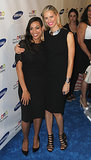 Rosario Dawson met up with Karolina Kurkova on the blue carpet.