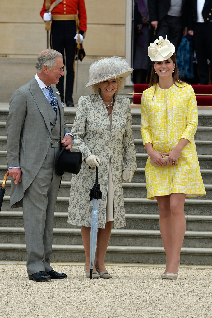 Kate Middleton joined Prince Charles and Camilla, Duchess of Cornwall, at Queen Elizabeth II's annual garden party in May 2013 in London.