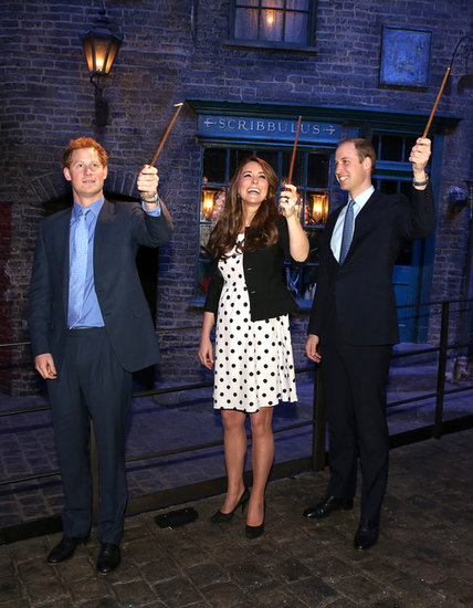 Kate Middleton had fun with Prince Harry and Prince William when the royals toured a Harry Potter set at Warner Bros. Studios in London in April 2013.
