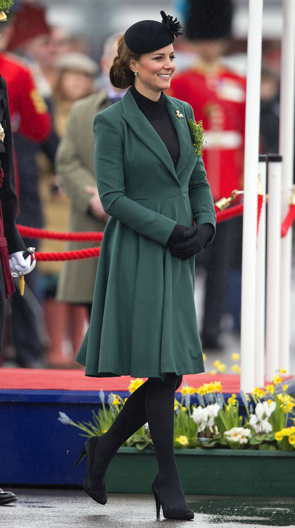 The duchess celebrated St. Patrick's Day 2013 by visiting the barracks at Aldershot, England, to pin clovers on soldiers.