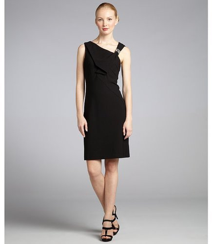 Nue by Shani black crepe beaded asymmetrical cocktail dress with built-in body shaper