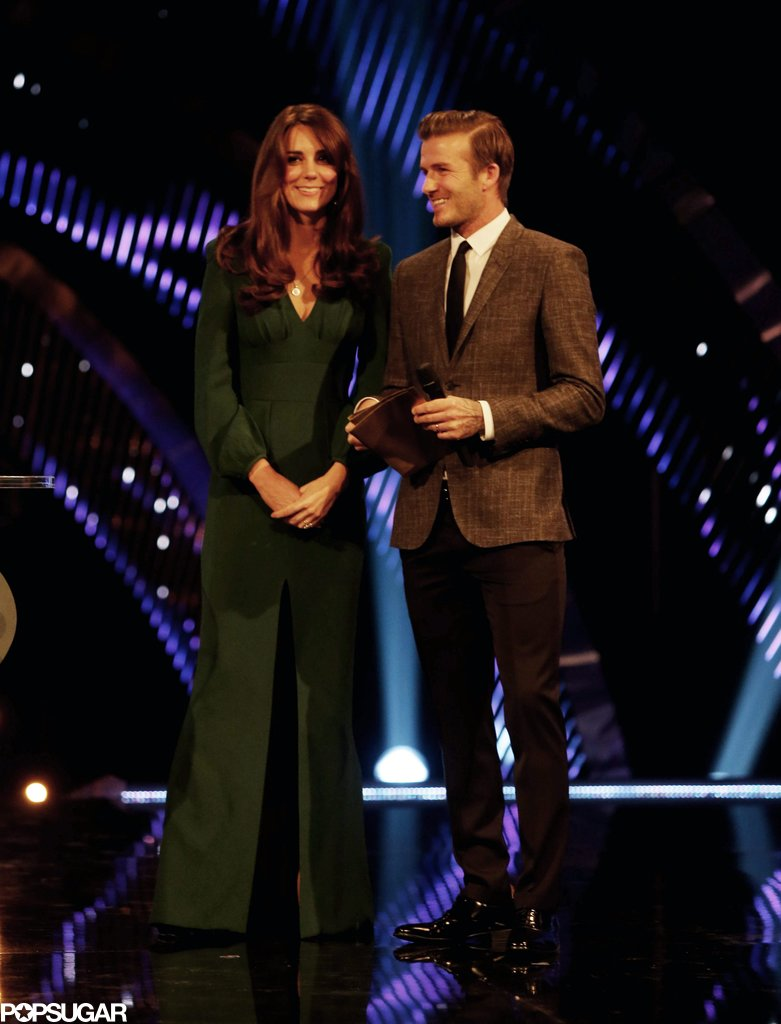 Kate Middleton made her first posthospitalization appearance with David Beckham when she presented at the BBC Sports Personality of the Year Awards on Dec. 16, 2012.