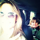 Alessandra Ambrosio snapped a photo with her picture-loving little girl, Anja, riding in the backseat.  Source: Instagram user alessandraambrosio
