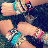 Check out our arm parties! We stayed loaded with wrist candy from Gap, Blee Inara, and Pura Vida — not to mention the obligatory Bonnaroo wristbands. Source: Instagram user popsugarfashion
