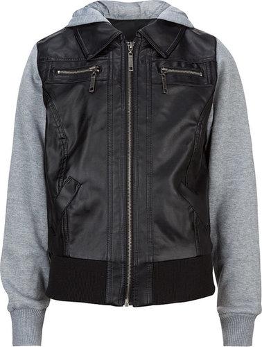 FULL TILT Fleece Sleeve Faux Leather Girls Jacket