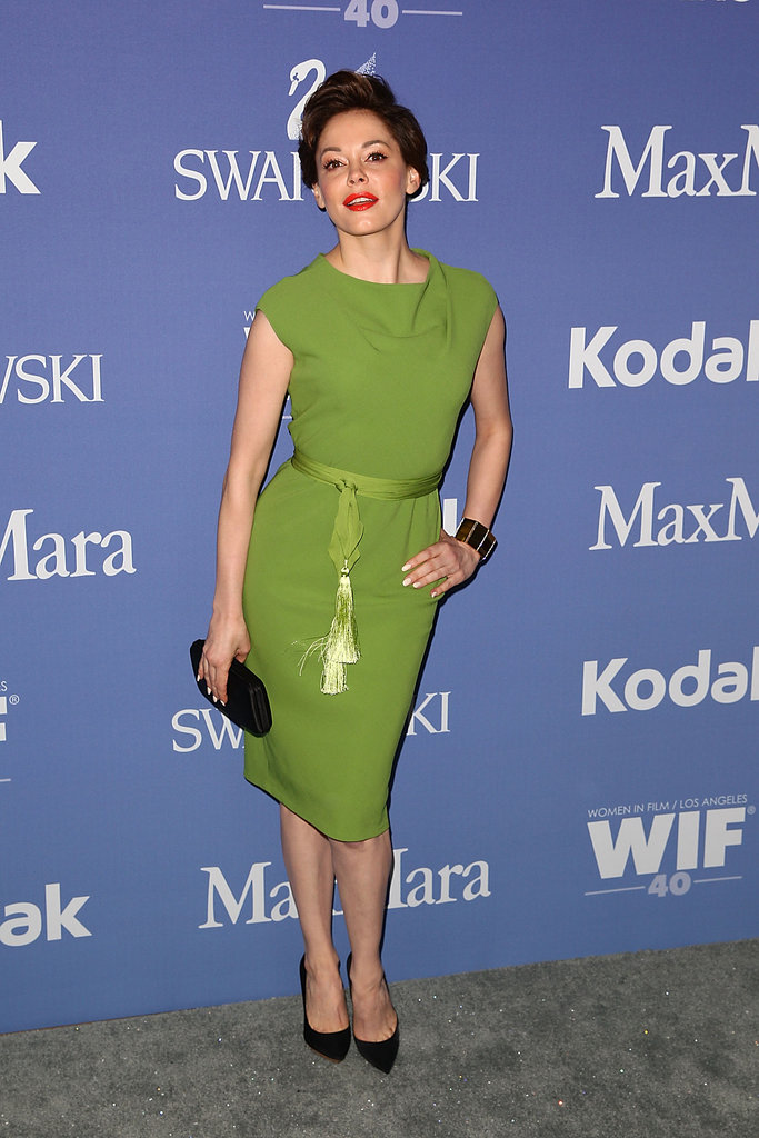 Rose McGowan went for a green look.