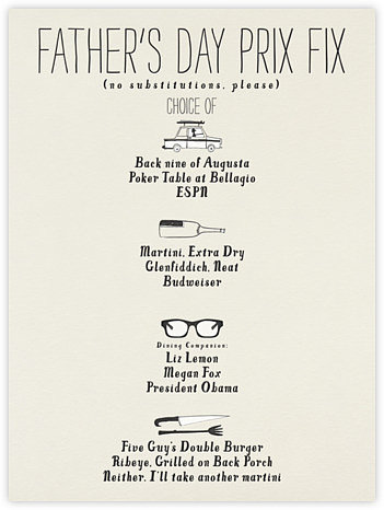 Paperless Post's prix fix menu of options has something for every kind of discerning dad.