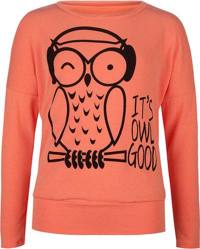 FULL TILT It's Owl Good Girls Cold Shoulder Tee
