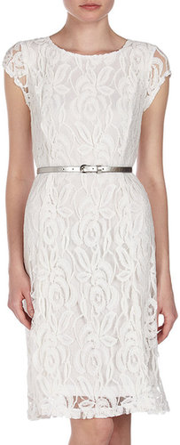 Sharagano Lace Belted Cap-Sleeve Dress, Ivory
