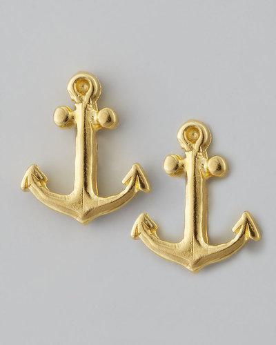 Dogeared Golden Anchor Stud Earrings