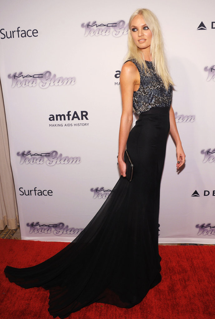 Candice Swanepoel worked her stuff on the red carpet in a custom Theyskens' Theory gown.