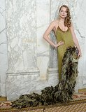 Eniko Mihalik chose a dramatic feather-adorned gown and a '20s-style coif. Source: Matteo Prandoni/BFAnyc.com