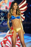 Lily Aldridge worked a sexy American flag look for Victoria's Secret in November 2012.