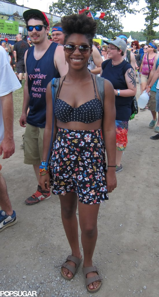 We spotted Danielle making her way into the festival and couldn't get enough of her retro-inspired look. Her anchor-print halter-top bikini offset the high-waisted floral skirt to perfection.