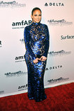 Jennifer Lopez pulled off a high-impact gown at the amfAR Inspiration gala.