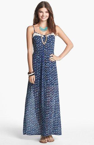Mimi Chica Lace Inset Maxi Dress (Juniors)