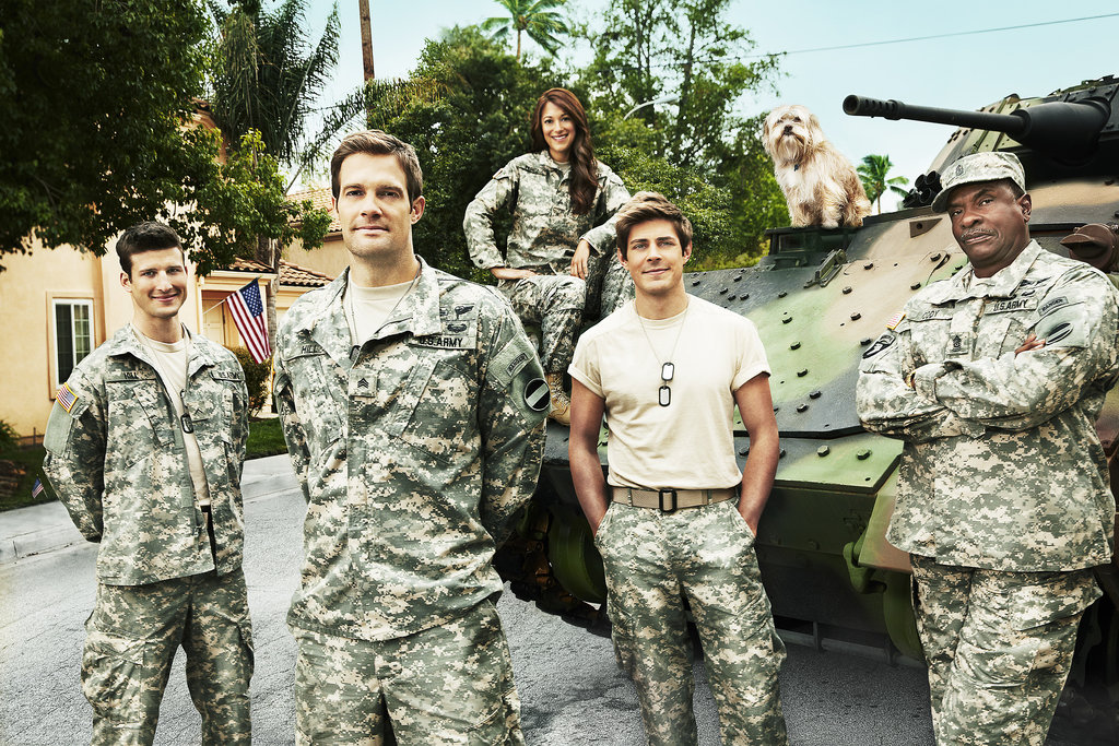 Parker Young, Geoff Stults, Angelique Cabral, Chris Lowell, and Keith David in Enlisted.