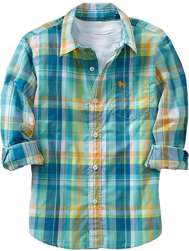 Boys Long-Sleeved Plaid Shirts
