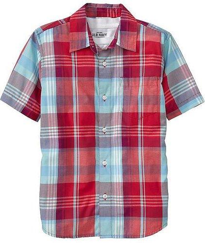 Boys Short-Sleeve Plaid Shirts