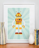 Give your babe's nursery a vintage vibe with this retro robot poster ($21).