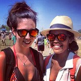 The second rule of Bonnaroo: use the buddy system (especially when it comes to mirrored sunglasses). Source: Instagram user popsugarfashion