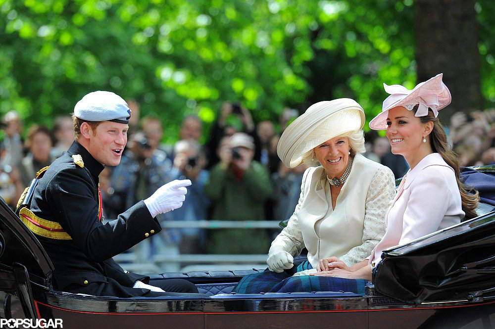 Kate Middleton, Prince Harry, and Camilla, Duchess of Cornwall, waved to the crowd.