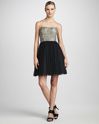 Aidan Mattox Bead-Top Dress