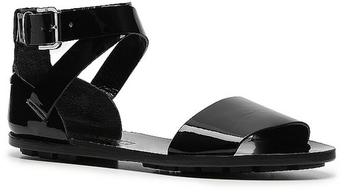 Ralph Lauren Collection Mabel Patent Leather Flat Sandal