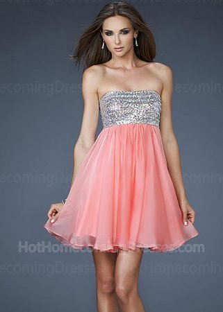 Hot Strapless Coral Short Sequin Top Flowing Dresses for Homecoming