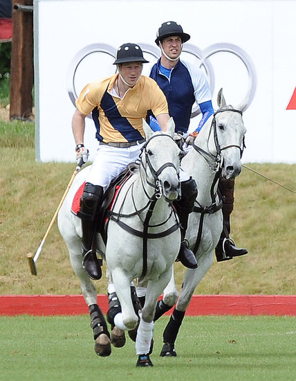 Prince Harry and Prince William played in a polo match on Sunday.