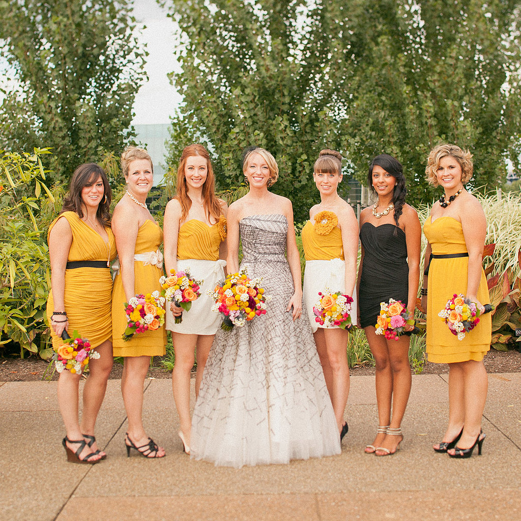 "Wanting her six bridesmaids to be able to express their personalities, Kristin gave them free rein to choose their dresses. Fashion-forward Kristin never dreamed of a white wedding dress; instead she went with a gown that was much more ""her""—a unique blend of bridal and runway. Source: Sweet Little Photographs"