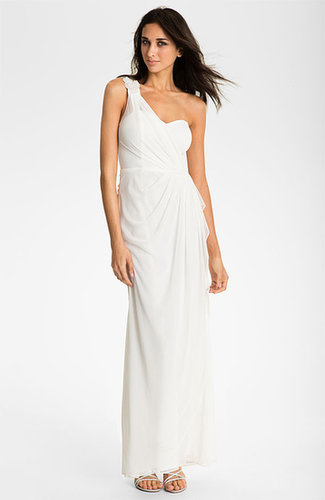 Beaded One Shoulder Long White Dress