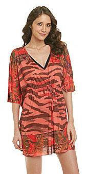 "Oneworld® ""Good Vibes"" Mesh Kaftan Printed Dress Coverup"