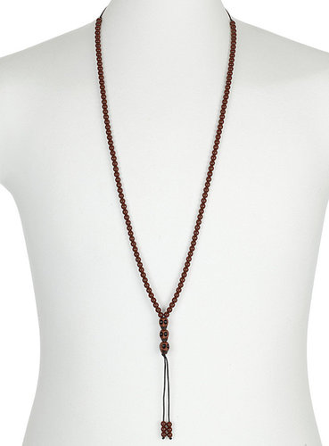 Brown Skull Rosary Necklace