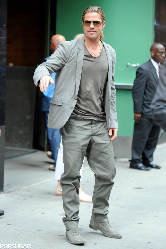 Brad Pitt made a stop on Good Morning America in NYC.