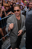 Brad Pitt signed autographs for fans in NYC.