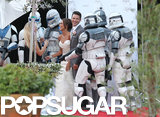 Matt Lanter and his bride, Angela Stacy, posed with Storm Troopers at their Malibu, CA, wedding.