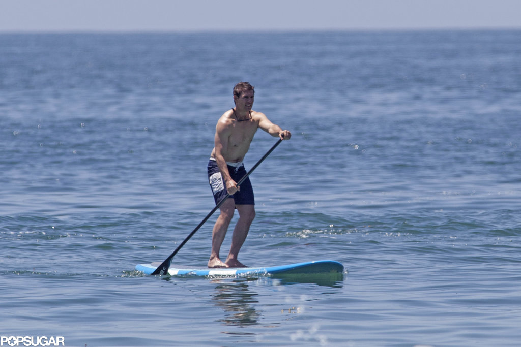 Tom Cruise went shirtless for a paddleboarding session in Malibu.