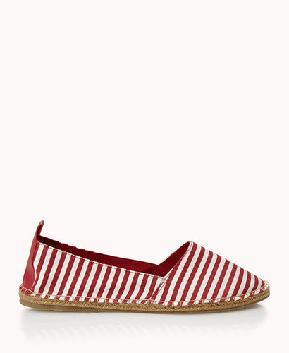 FOREVER 21 Dock Party Striped Slip-Ons