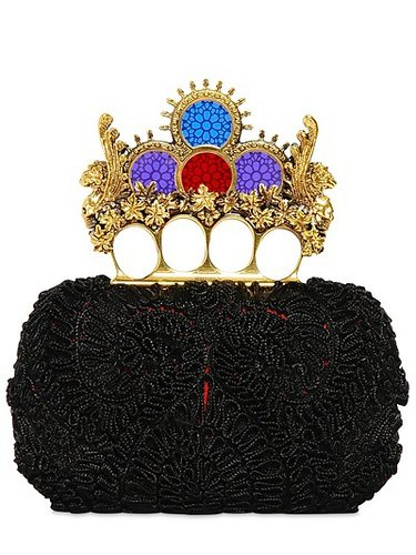 Embroidered Knucklebox Clutch