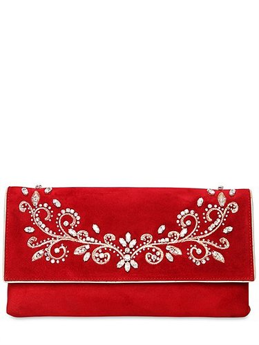 Swarovski Embroidered Suede Clutch