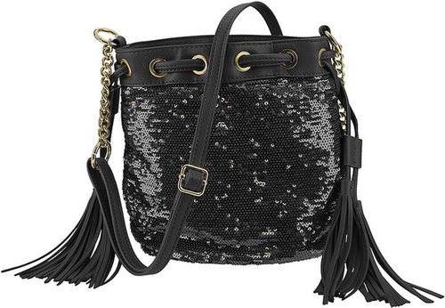 Silk Elements Sequin Tassel Bag Black & Gold