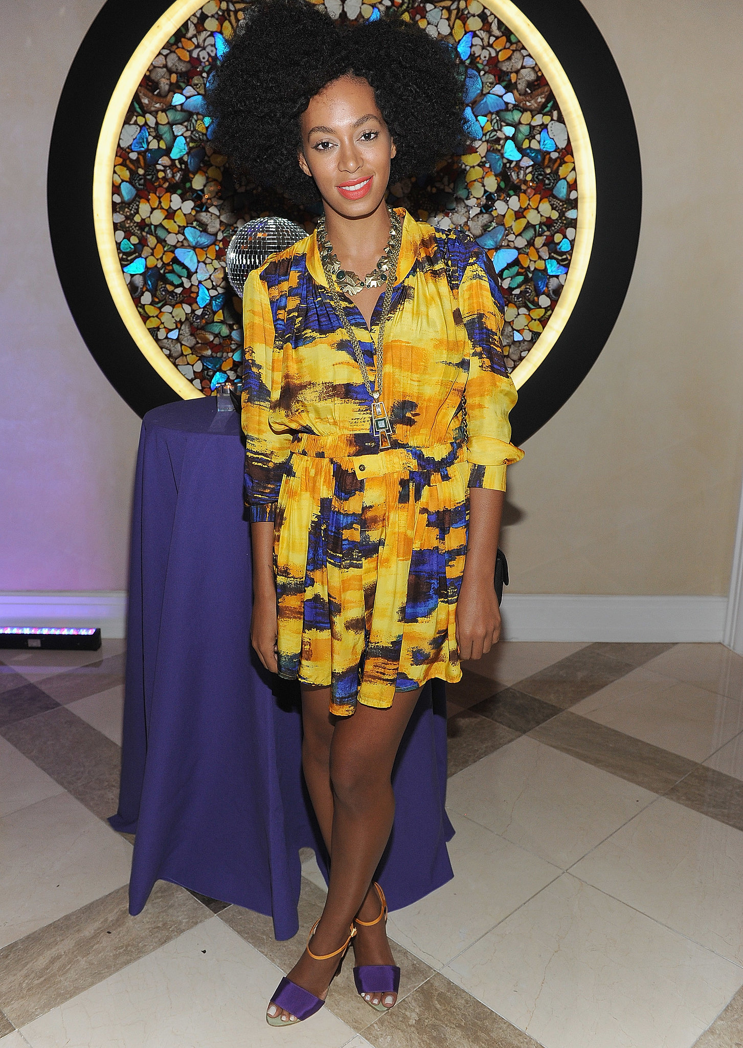 Solange Knowles chose a sunset-print mini and colorblock Fendi sandals for a NYC Fashion Week party in September 2010.