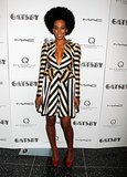 Solange styled a structured striped Jill Stuart dress with fiery red wedges at the pre-Met Ball screening of The Great Gatsby.