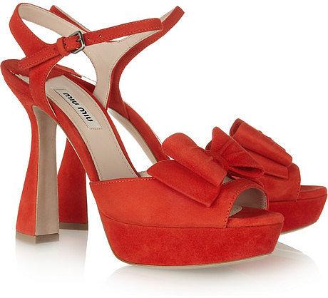 Miu Miu Bow-embellished suede sandals