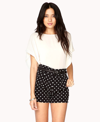 FOREVER 21 Essential High-Waisted Polka Dot Shorts