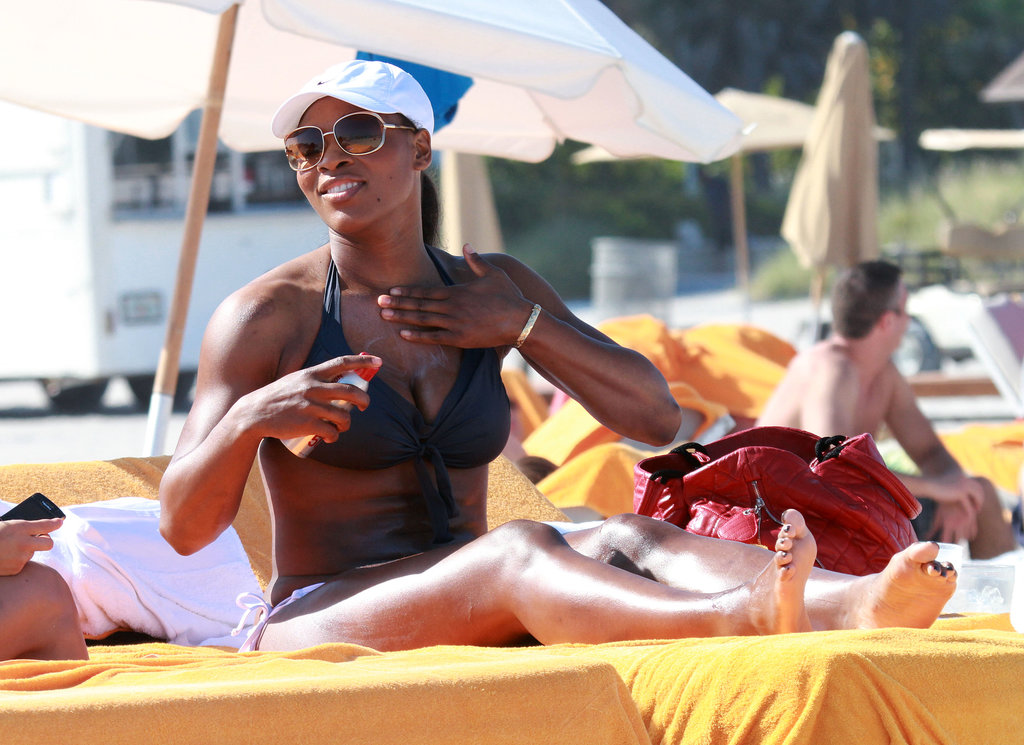 Venus Williams put on sunscreen while on the beach in Miami back in April 2011.